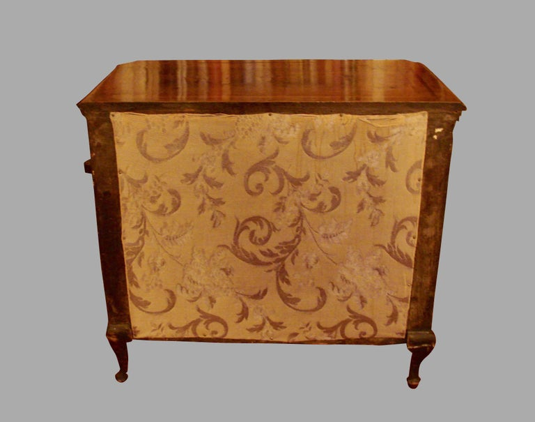 Boxwood Italian Rococo Style Inlaid Walnut Miniature Chest For Sale