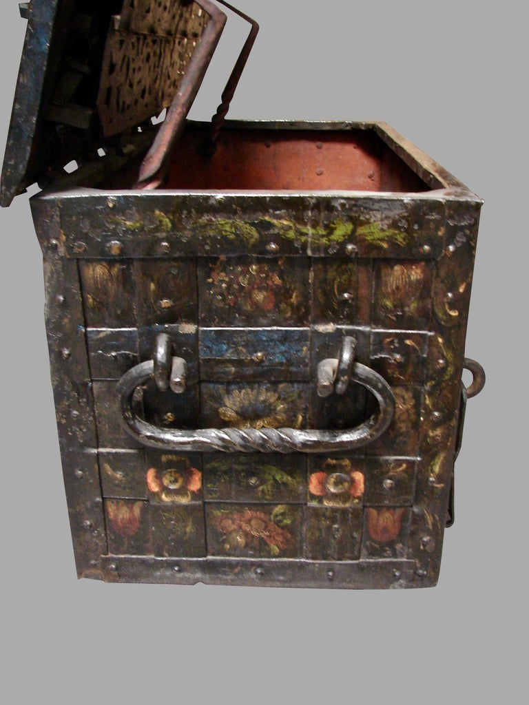 Baroque German 17th Century Painted Iron Armada Chest For Sale