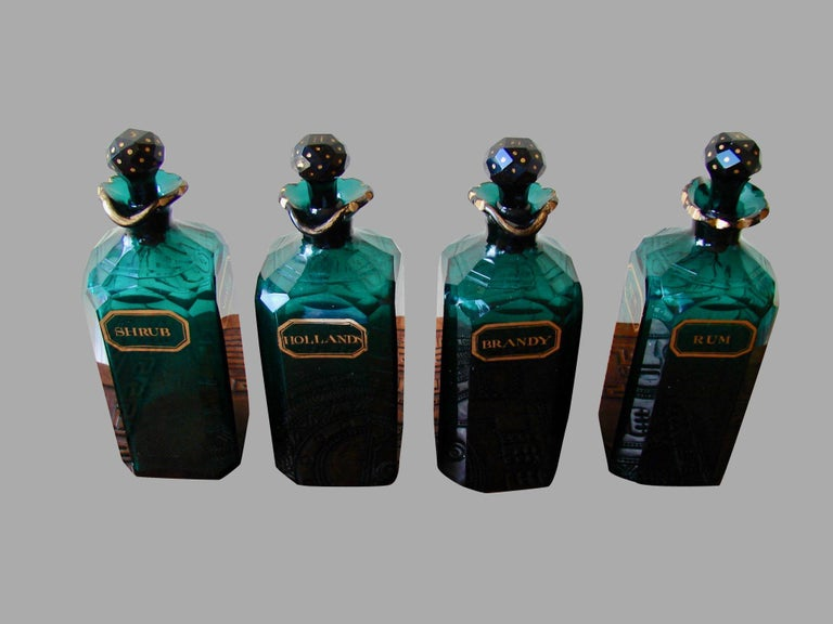 Georgian English Cut and Gilt Glass 4 Bottle Decanter Set For Sale