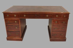 Georgian Style Mahogany Pedestal Desk with Tooled Leather Top