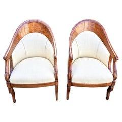 Pair of Biedermeier Fruitwood Tub Chairs