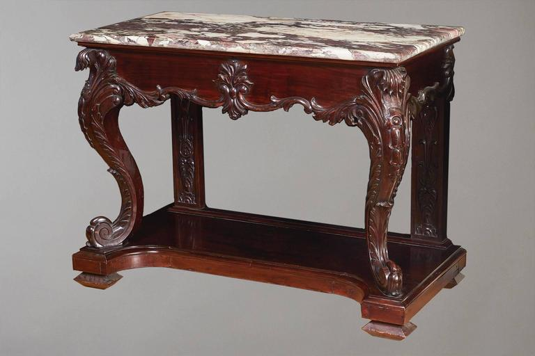 Rare Pair of Chinese Export Marble-Top Consoles In Good Condition For Sale In San Francisco, CA