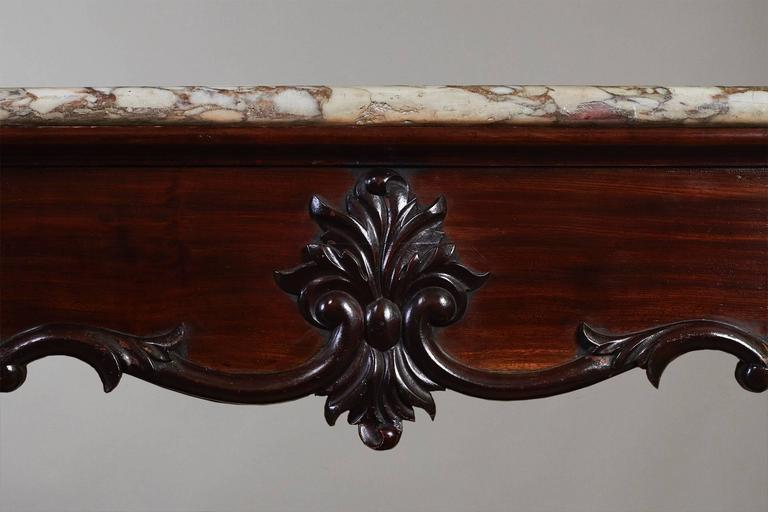 19th Century Rare Pair of Chinese Export Marble-Top Consoles For Sale