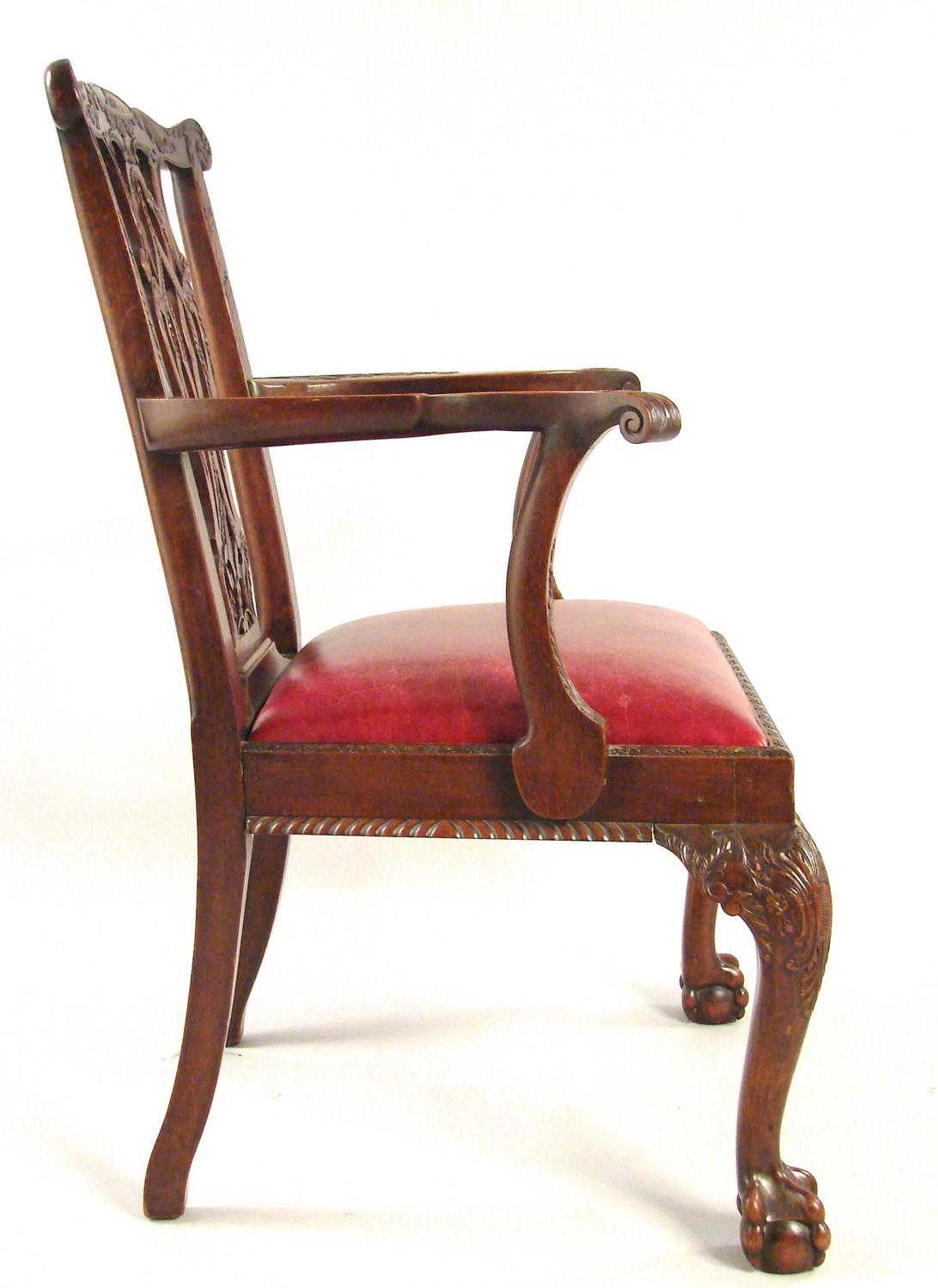 large chippendale style leather upholstered armchair at