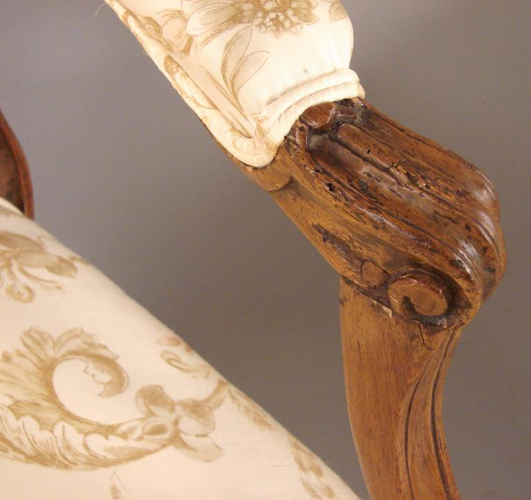Pair of French Walnut Louis XV Style Armchairs 6