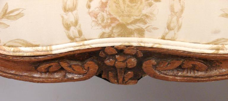 Mid-19th Century Pair of French Walnut Louis XV Style Armchairs For Sale