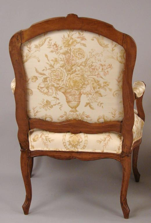 Pair of French Walnut Louis XV Style Armchairs 2