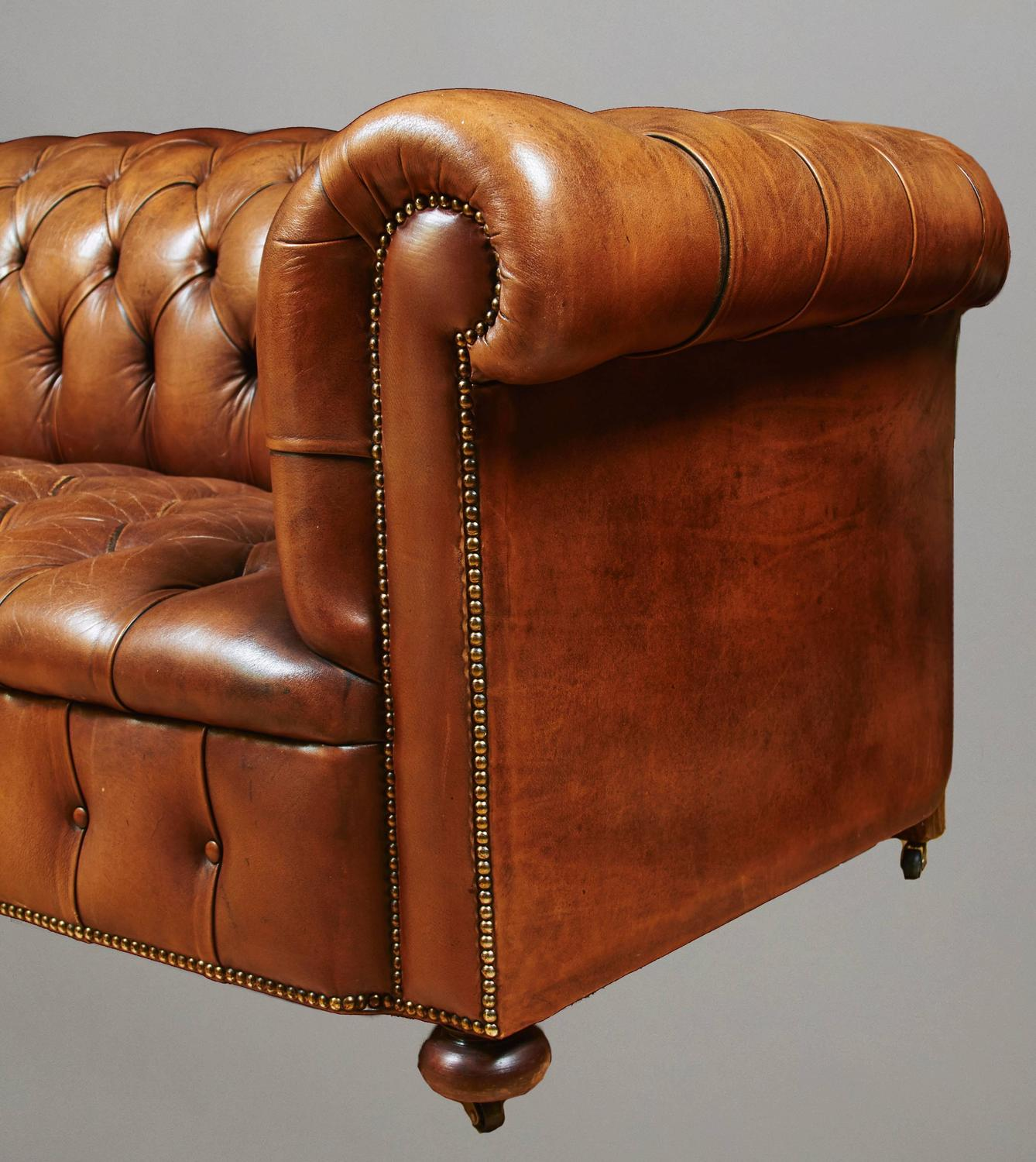 tufted leather sofa with nailhead trim at 1stdibs