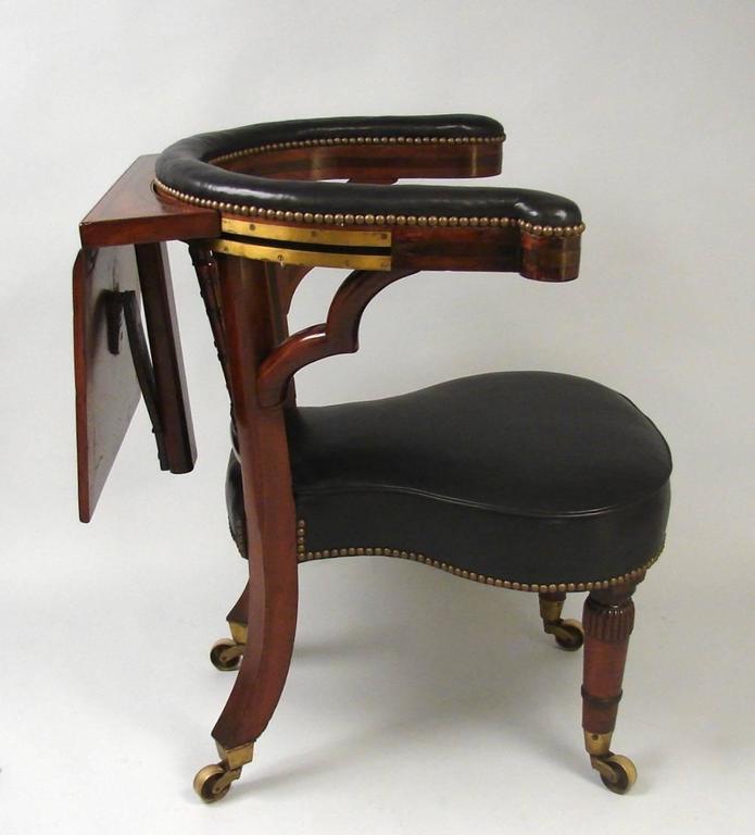 Regency Leather Upholstered Mahogany Reading Library