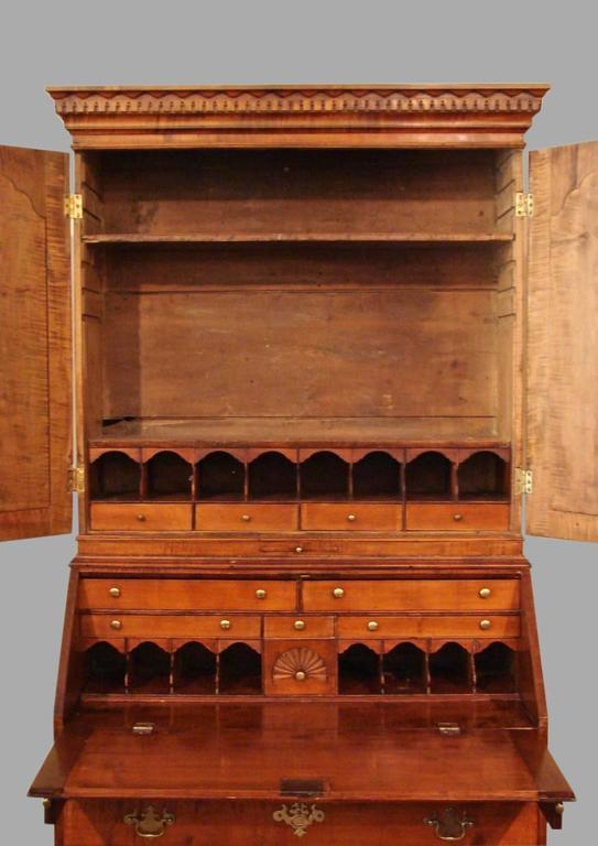 Chippendale 18th Century American Maple Secretary Bookcase