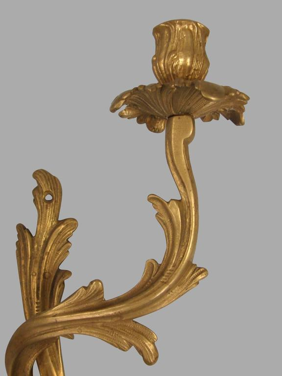 A pair of French Louis XV style brass two-light sconces of asymmetrical form. These sconces are not wired for electricity.
