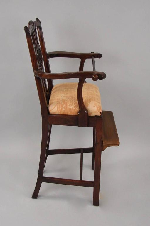 Merveilleux A George III Style Carved Mahogany High Chair With Later Adjustable  Footrest And Retaining Rod,