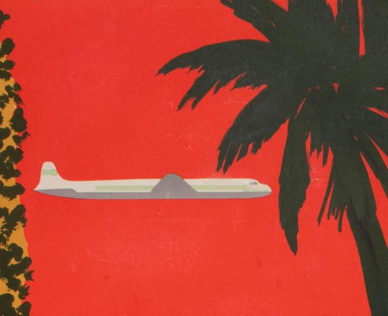 Original 1950s Vintage Airline Poster by Bernard Villemot for TAI In Good Condition For Sale In Los Gatos, CA