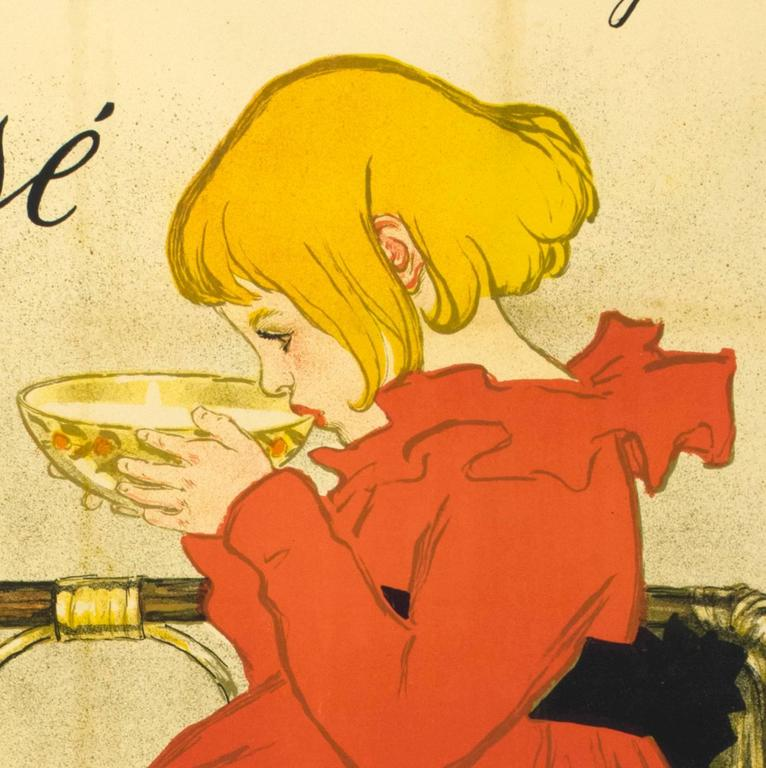 This original stone lithographic poster is perhaps Steinlen's most successful and best-known image. The poster advertises pure sterilized milk from the dairy of the Quillot Brothers in the village of Montigny sur Vingeanne. Steinlen's daughter