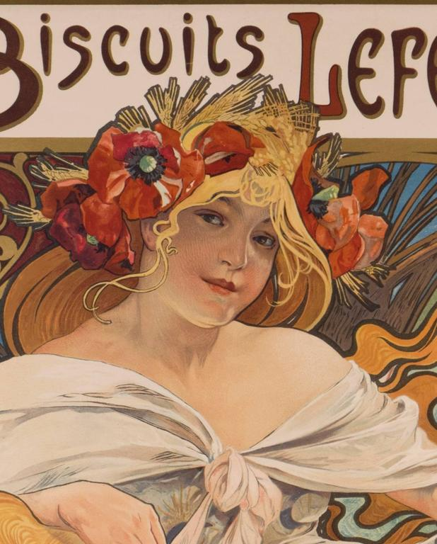 French Alphonse Mucha Biscuits Lefevre-Utile 1897 Original Art Nouveau Poster For Sale