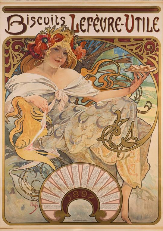 Lefevre-Utile, the French biscuit maker commissioned top artists to create their publicity. In addition to this exquisite Art Nouveau poster featuring one of Alphonse Mucha's most charming young ladies with her hair cascading through the image