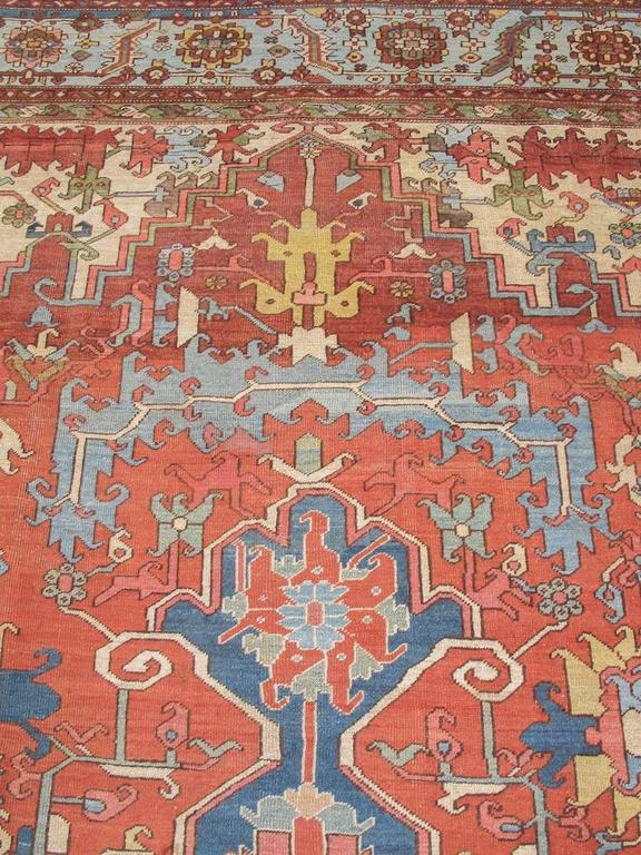 Late 19th Century Red and Blue Indigo Serapi Carpet 2