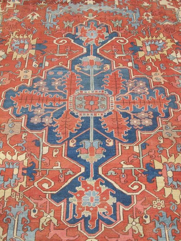 Late 19th Century Red and Blue Indigo Serapi Carpet 3