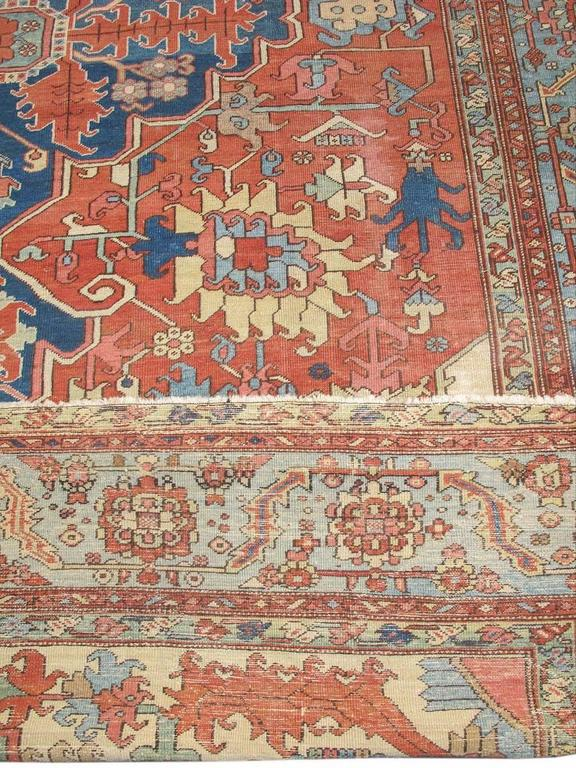 Late 19th Century Red and Blue Indigo Serapi Carpet 4