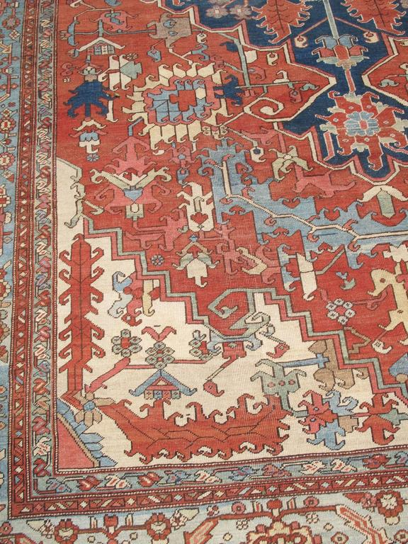 Late 19th Century Red and Blue Indigo Serapi Carpet 5