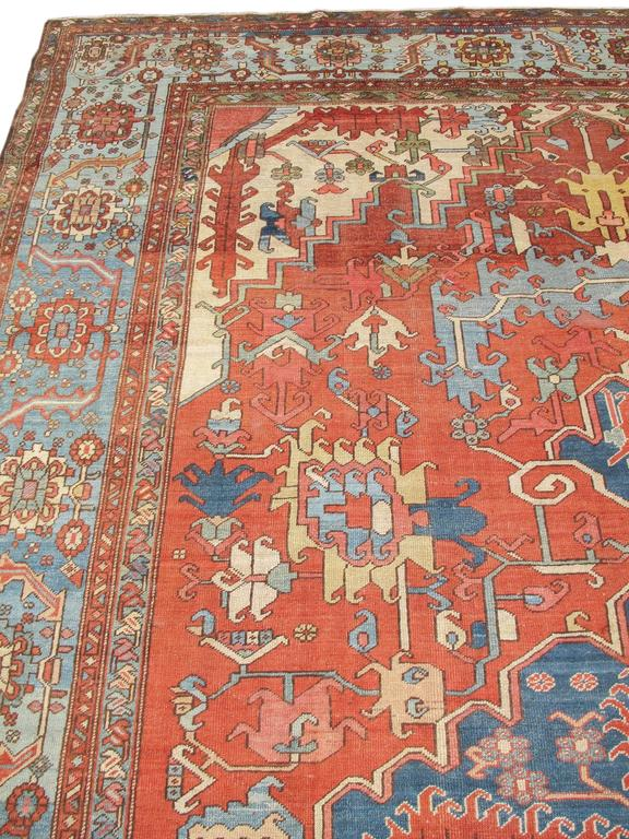 Late 19th Century Red and Blue Indigo Serapi Carpet 6