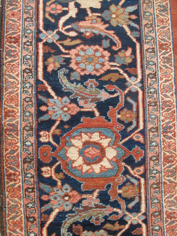 Wool Late 19th Century Red Serapi Heriz Carpet with Central Indigo Octagon For Sale