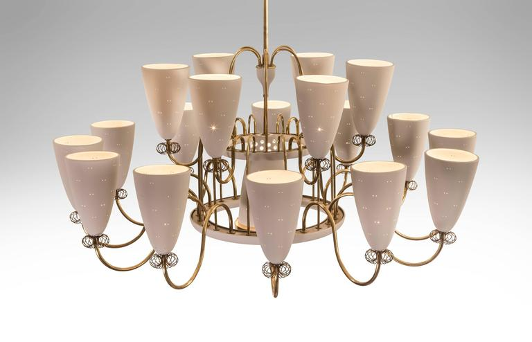 Paavo Tynell for Lightolier Large and Rare 19 Light Brass – Large Brass Chandelier