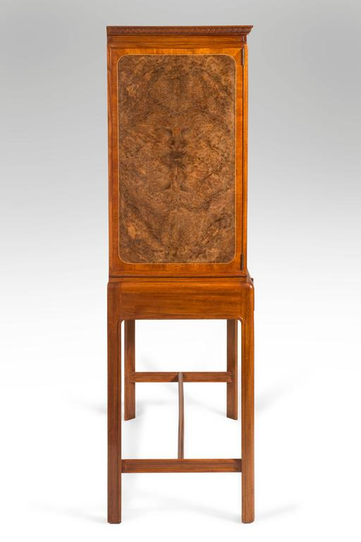Art Deco David Blomberg, Swedish Mahogany and Burl Walnut Cabinet on Stand For Sale