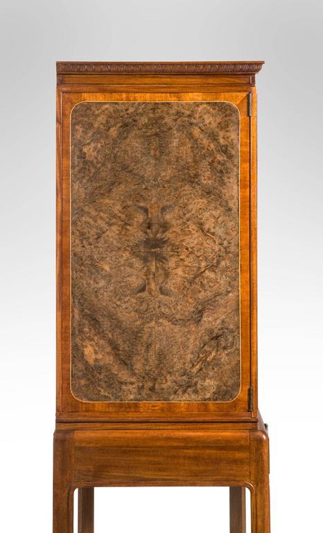 David Blomberg, Swedish Mahogany and Burl Walnut Cabinet on Stand For Sale 1