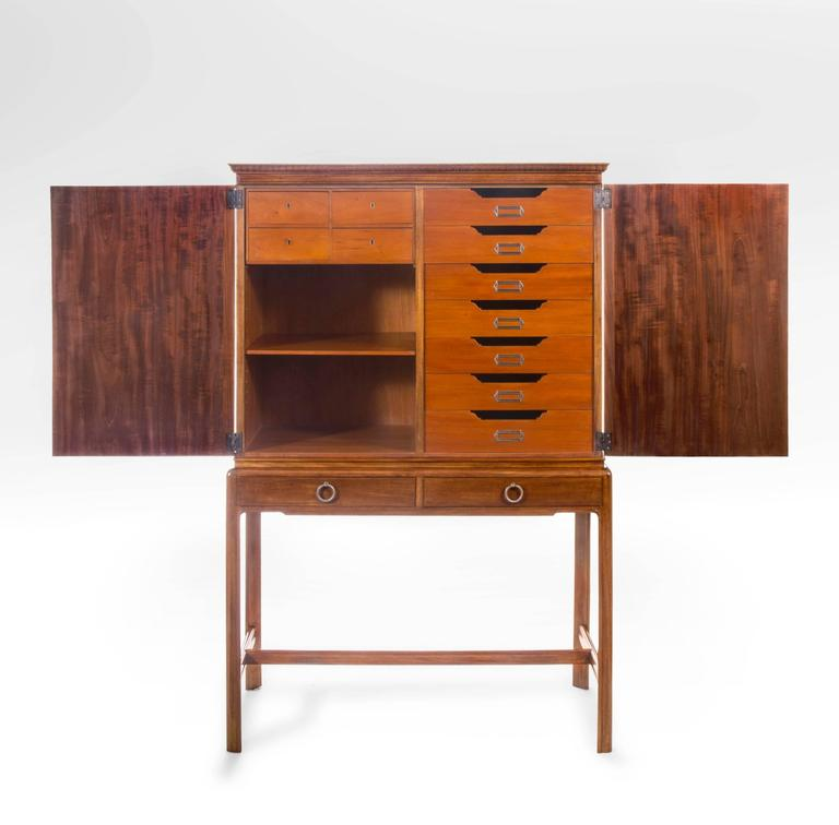 David Blomberg, Swedish Mahogany and Burl Walnut Cabinet on Stand In Fair Condition For Sale In New York, NY