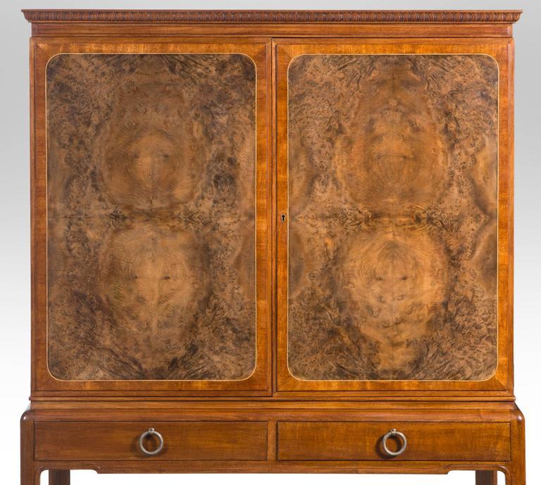 20th Century David Blomberg, Swedish Mahogany and Burl Walnut Cabinet on Stand For Sale