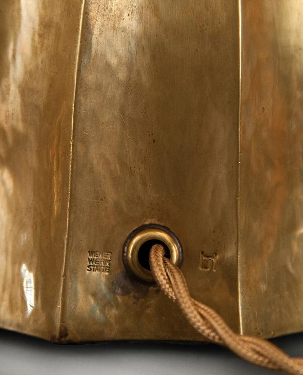 Josef Hoffmann, Wiener Werkestätte, Vienna Secession, Pair Brass Table Lamps 7