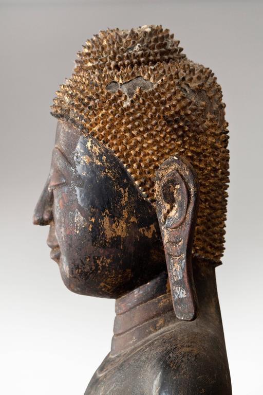 19th Century Thai Painted and Parcel Gilt Wooden Standing Buddha  For Sale