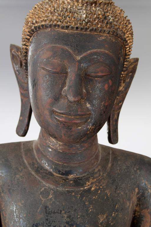 Thai Painted and Parcel Gilt Wooden Standing Buddha  In Good Condition For Sale In New York, NY