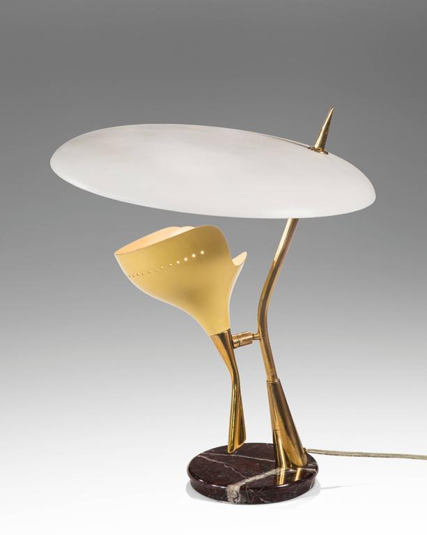 Lumen, Italian Painted Metal, Marble, and Brass Table Lamp In Good Condition For Sale In New York, NY