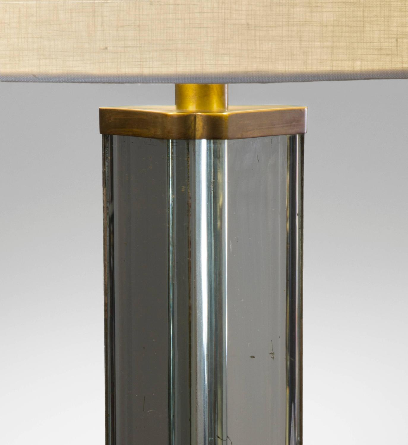 Pietro chiesa attributed italian patinated brass and for Glass floor mirror