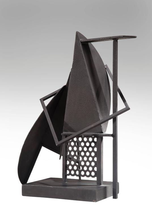 Of abstract form on a rectangular plinth. Signed: RJ  A Danish sculpture who resided in France for much of his life, Jacobsen's sculptures are included in important public and private collections.