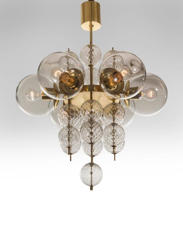Kamenicky enov pair of czech brass and handblown glass chandeliers handblown glass chandeliers for sale a spirited and chic design complete with all the original elements each cylindrical canopy aloadofball Images