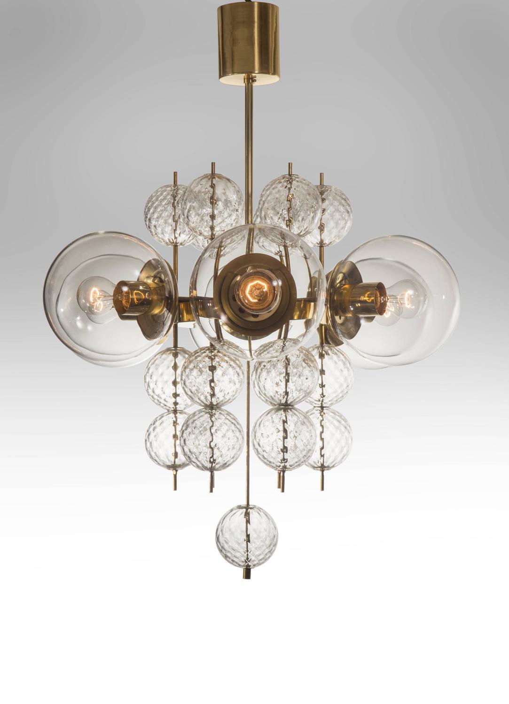 Kamenicky Enov Pair Of Czech Brass And Handblown Glass