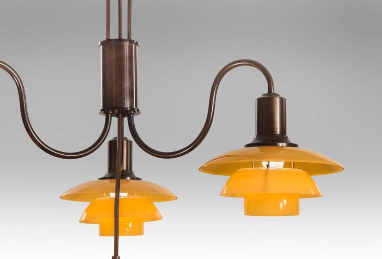 Poul Henningsen, Rare Danish 4 Light Adjustable Painted Glass Chandelier 7