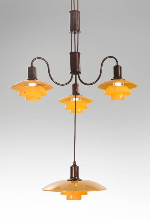 Poul Henningsen, Rare Danish 4 Light Adjustable Painted Glass Chandelier 3