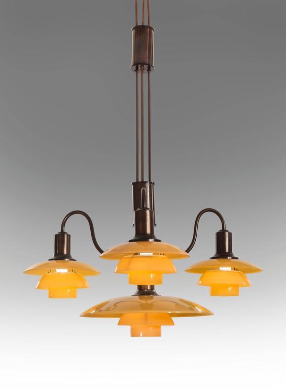 Poul Henningsen, Rare Danish 4 Light Adjustable Painted Glass Chandelier 4