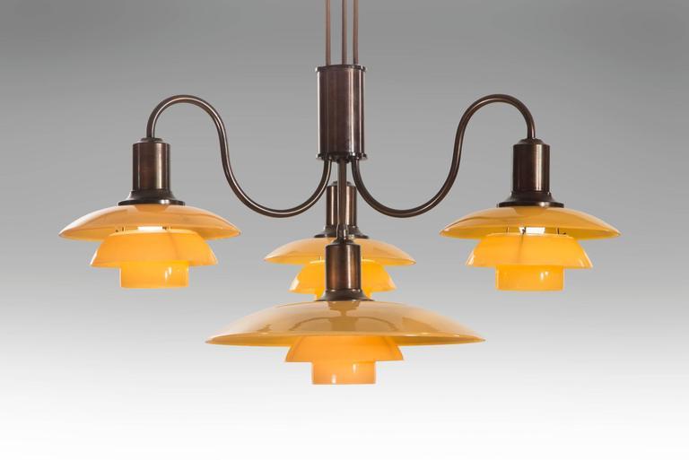 Poul Henningsen, Rare Danish 4 Light Adjustable Painted Glass Chandelier 6