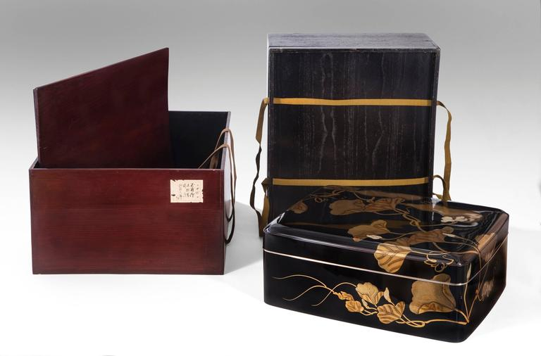Gyokuho, A Large Japanese Black and Gilt Lacquer Document Box (Bunko) In Good Condition For Sale In New York, NY