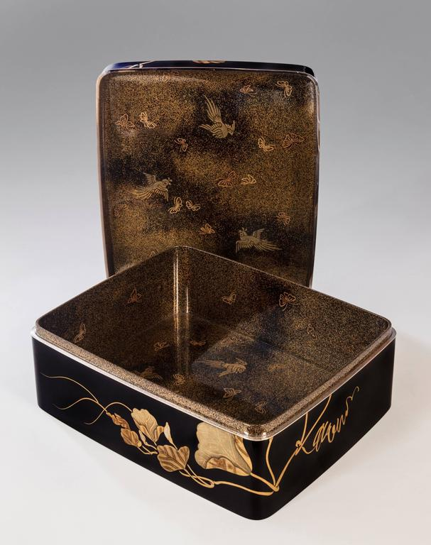 Taisho Gyokuho, A Large Japanese Black and Gilt Lacquer Document Box (Bunko) For Sale