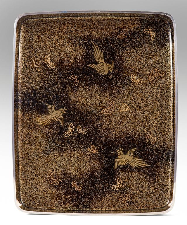 20th Century Gyokuho, A Large Japanese Black and Gilt Lacquer Document Box (Bunko) For Sale
