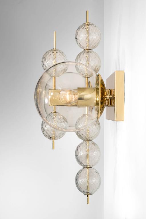 Mid-Century Modern Kamenicky Šenov, Pair of Czech Brass and Handblown Glass Sconces For Sale
