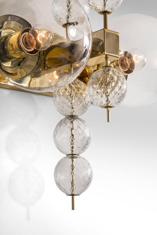 20th Century Kamenicky Šenov, Pair of Czech Brass and Handblown Glass Sconces For Sale