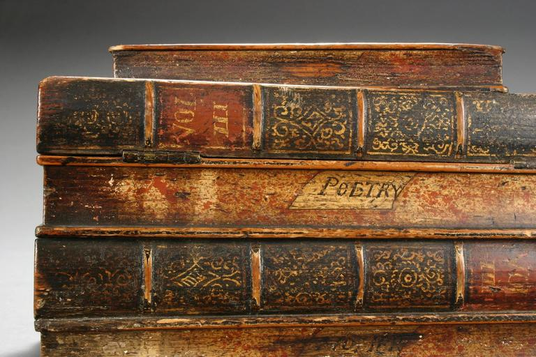 Neoclassical An English Painted Book Form Box Titles including Milton and Poetry For Sale