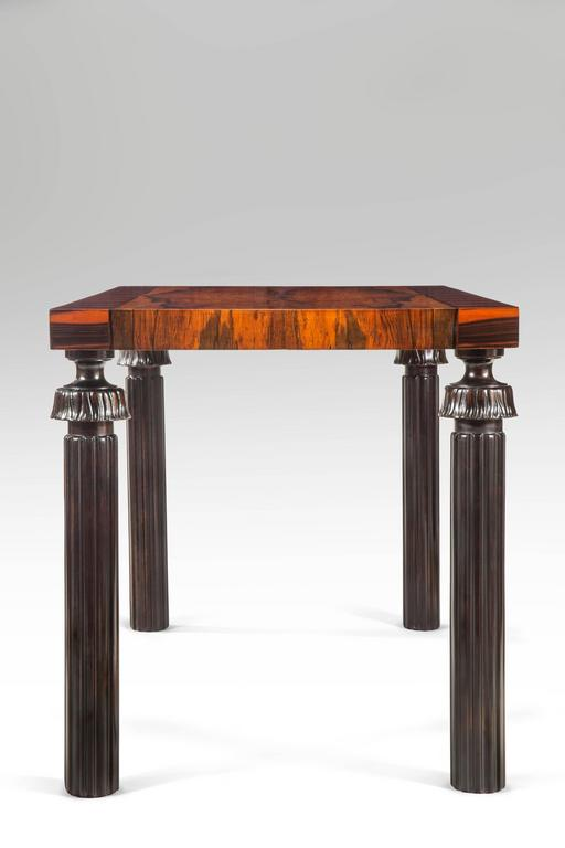 Reiners Möbelfabrik, A Swedish Macassar, Palisander and Ebonized Birch Table In Good Condition For Sale In New York, NY